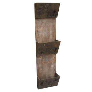 Set of 2 Rustic Wood and Iron 3-tier Magazine Holder (China)