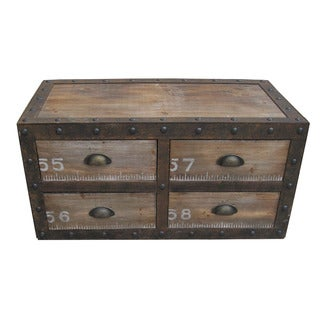 Rustic Wooden 4-drawer Decorative Chest (China)