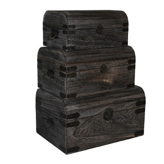 Dark Brown Nested Wooden Storage Boxes (Set of 3)