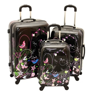 Dejuno Lovely Birds 3-piece Hardside Lightweight Spinner Luggage Set