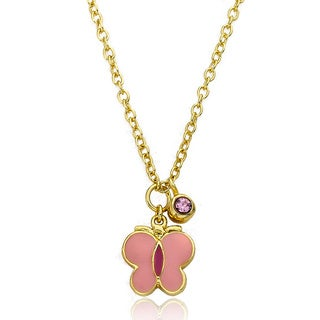 Little Miss Twin Stars 14-karat Yellow Goldplated Pink Butterfly Crystal Necklace