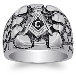 Stainless Steel Men's Masonic Nugget Ring