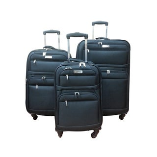 Kenneth Cole Express Lane Black 3-piece Expandable Spinner Luggage Set