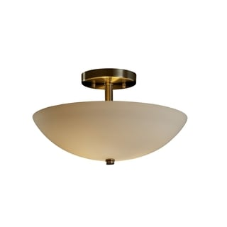 Justice Design Group Fusion 2-light Opal with Nickel Semi-flush