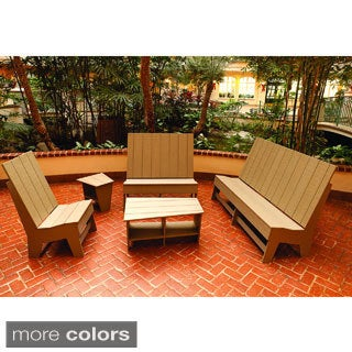 Milan High-density Polyethylene 5-piece Patio Set