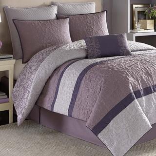 Nicole Miller Damask Purple 7-piece Comforter Set