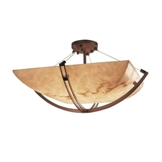 LumenAria 3-Light Crossbar Dark Bronze Semi-flush