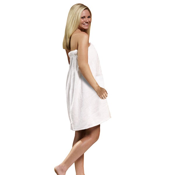 Women's Spa and Bath White Terry Cloth Towel Wrap