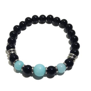 Sterling Silver Black Tourmaline and Larimar Bracelet