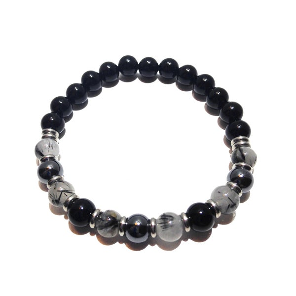 Rutilated Quartz, Hematite and Black Tourmaline Positive Energy Bracelet