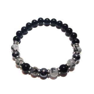 Rutilated Quartz, Hematite and Black Tourmaline Positive Energy Bracelet