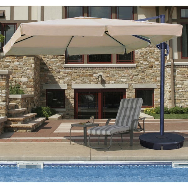 Santorini II 10-foot Square Cantilever Umbrella with Valance