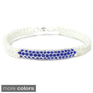Macrame Rhinestone Pave Tube Bracelet