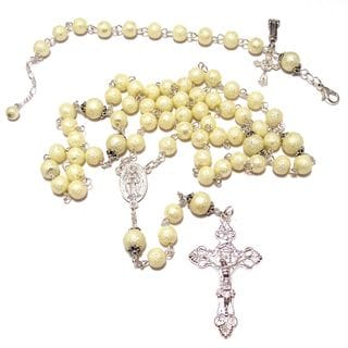 Ivory Moonscape Textured Crystal Pearl Rosary and Bracelet Set