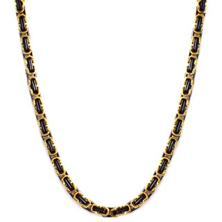 Two-tone Stainless Steel Men's Byzantine Chain Necklace