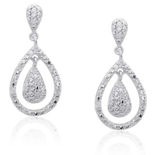 Finesque Sterling Silver 1/4ct TDW Diamond Teardrop Dangle Earrings (I-J, I2-I3)