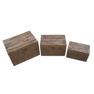 Set of 3 Rustic Wooden Boxes (China)