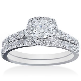 Bliss 14k White Gold 1 1/6ct TDW Diamond Bridal Ring Set (G-H, I1-I2)