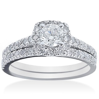 14k White Gold 1 1/6ct TDW Cushion-cut Diamond Bridal Ring Set (G-H, I1-I2)