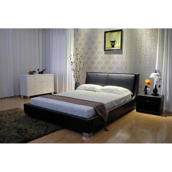 Greatime Home Tilted Upholstered Low Platform Bed