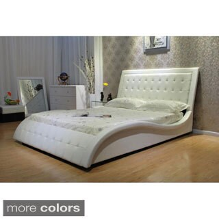 Faux Leather Upholstered Queen-size Wave Bed