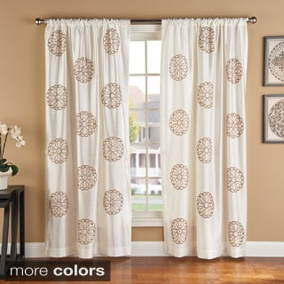 Brittany Embroidered Faux Silk Medallion Print Curtain Panel Pair
