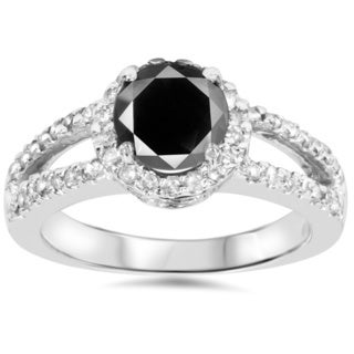 14k White Gold 2ct TDW Black Diamond Ring