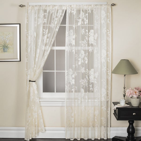 Rose Lace 84-inch Curtain Panel Pair