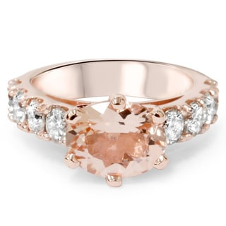 Bliss 14-karat Rose Gold 1 3/5ct TDW Diamond and Morganite Ring (G-H, I1-I2)