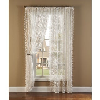 Scroll Lace 84-inch Curtain Panel Pair