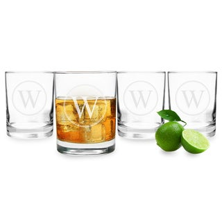 Personalized Circle Initial Drinking Glasses (Set of 4)
