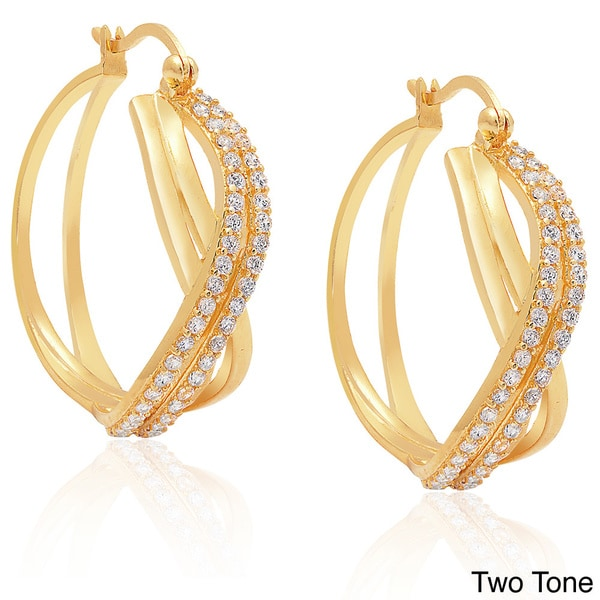 Dolce Giavonna Sterling Silver Cubic Zirconia Twist Hoop Earrings