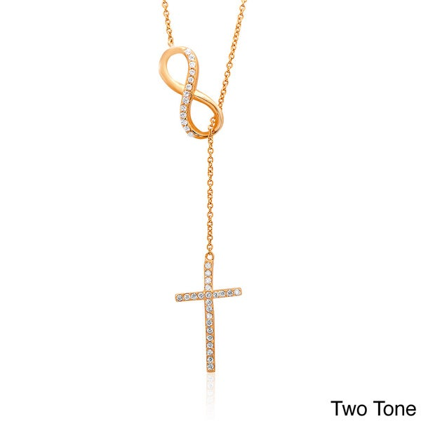 Dolce Giavonna Sterling Silver Cubic Zirconia Infinity and Cross Y Necklace