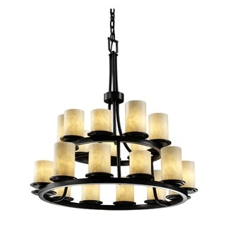 Dakota 21-Light 2-Tier Matte Black Chandelier