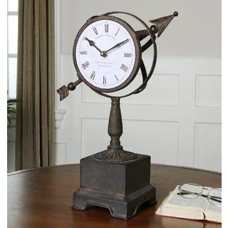 Rustic Armillary Clock Rust Bronze Metal Clock
