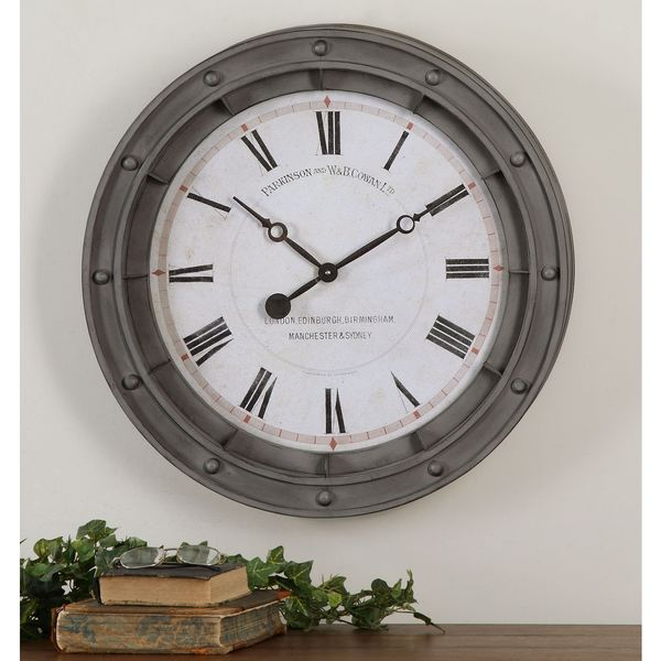 Uttermost Porthole Rust Grey Antiqued Wall Clock