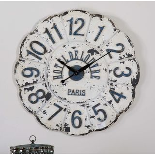 De Louvre Distressed Ivory and Rust Black MDF Wall Clock