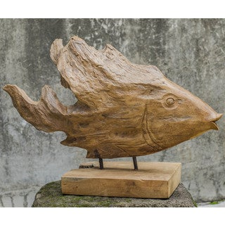 Uttermost Natural Teak Wood and Iron Teak Fish Mantle Sculpture