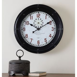 Philly Rustic Black Antiqued Wall Clock