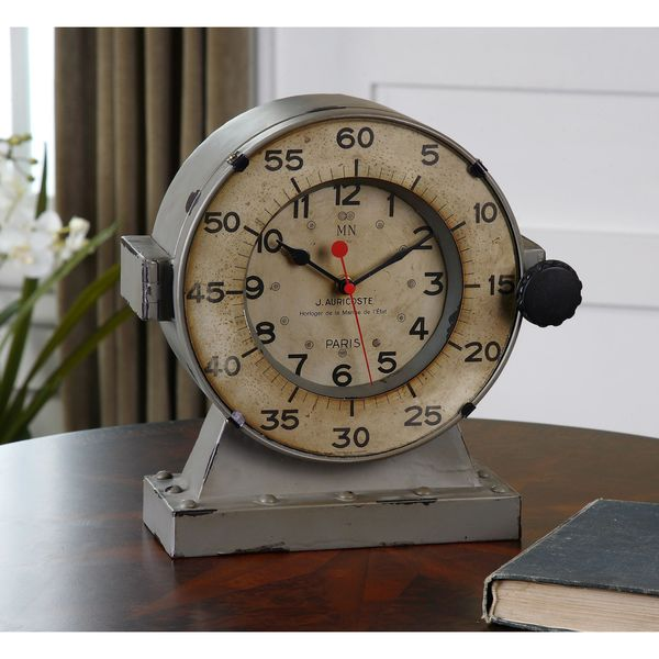 Uttermost Marine Distressed Grey Nautical Mantle Clock