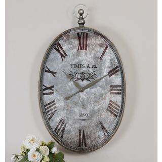 Argento Brushed Aluminum Distressed Wall Clock