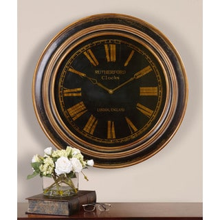 Uttermost Buckley Distressed Black/ Antiqued Bronzetone Wall Clock