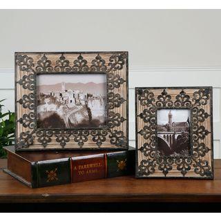 Uttermost Abelardo Natural Wood and Wrought Iron Photo Frames (Set of 2)
