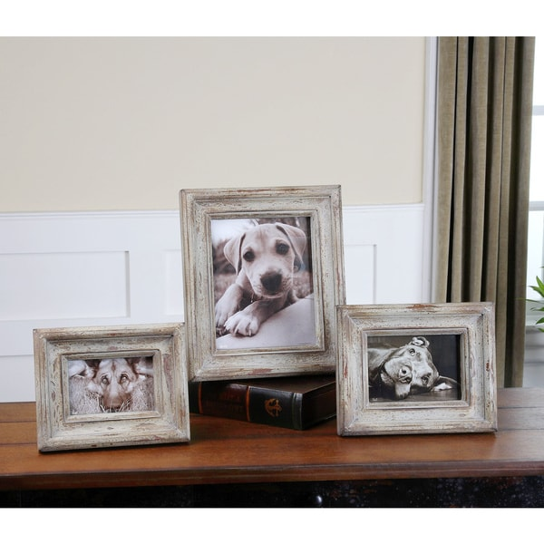 Uttermost Niho Distressed Ivory Wooden Photo Frames (Set of 3)