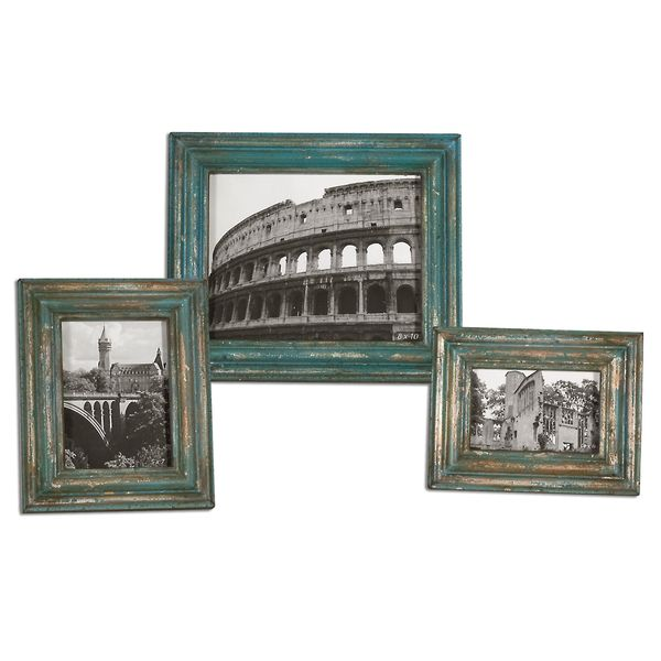 Uttermost Marlais Distressed Copper/ Slate Blue Photo Frames (Set of 3)