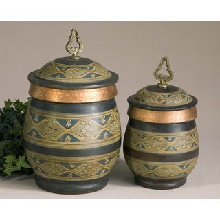 Cena Decorative Terracotta and Metal Canisters (Set of 2)