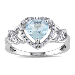 Miadora Sterling Silver Aquamarine and 1/10ct TDW Diamond Heart Ring (H-I, I2-I3)