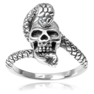 Journee Collection Sterling Silver Skull Snake Ring