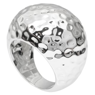 Journee Collection Sterling Silver Hammered Dome Ring
