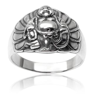 Journee Collection Sterling Silver Buddha Ring